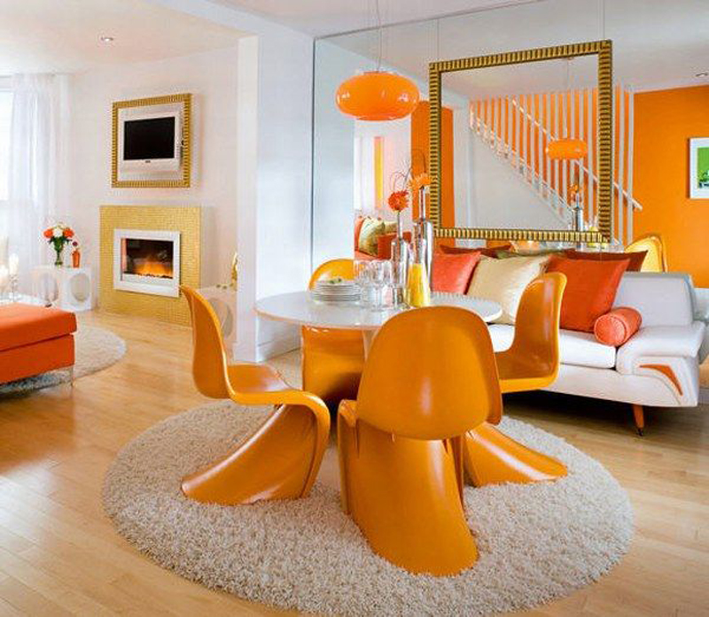 Dining-room-with-orange-furniture-looks-so-fresh