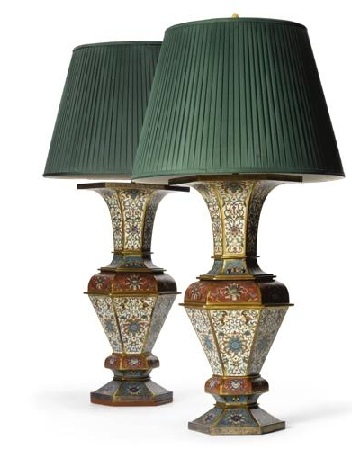 Pair Chines Hex Clois and gilt brnz lamps 19thc