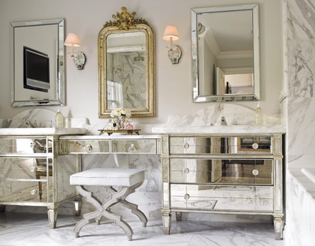 vanity cabinet sink cabinetry mirror cococozy bathroom  Housebeautiful    mirrored furnitureMirrored Bathroom Vanities   Sandra Espinet. Mirrored Bathroom Vanity Cabinets. Home Design Ideas