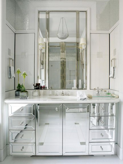 David Kleinberg Bathroom Bath Cococozy Mirrored Vanity Cabinet Sink Cabinetry Mirror