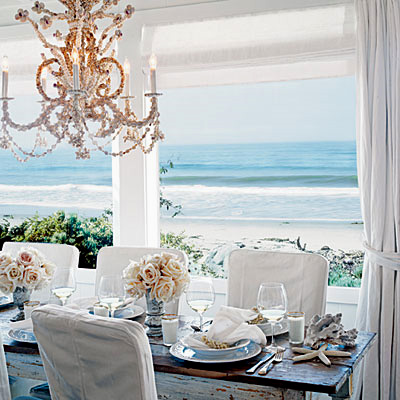 Blog seashell chandelier with ocean view